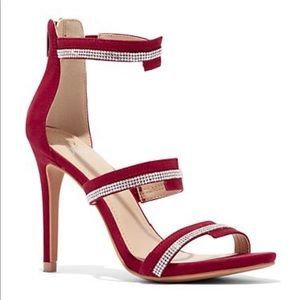 Red Jazzy Jeweled Suede Sandal